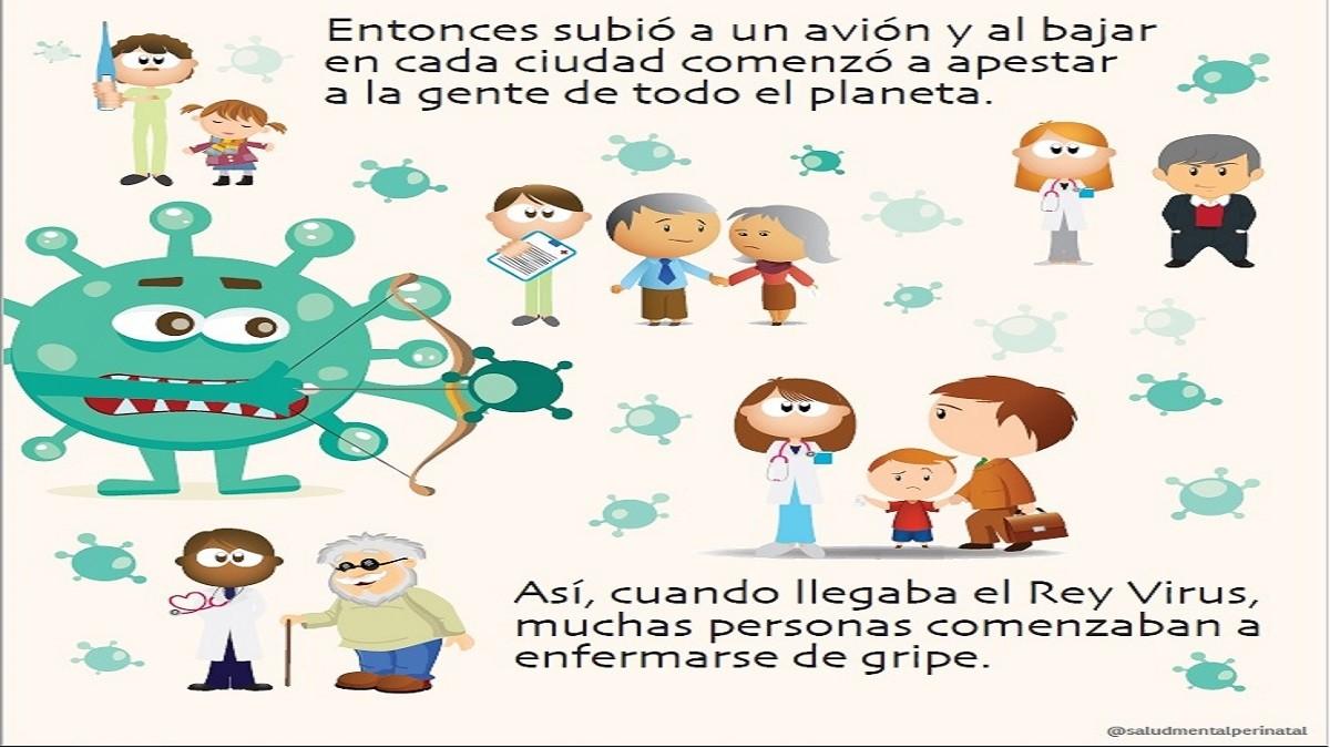 """El cuento infantil gratuito que explica el coronavirus ( o """"Rey virus"""") a los más chicos"""